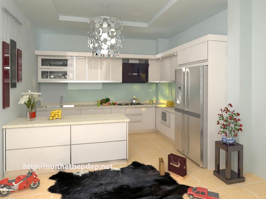 Mẫu tủ bếp bằng inox