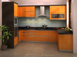 Tủ bếp bằng inox mau vàng cam 2707-1