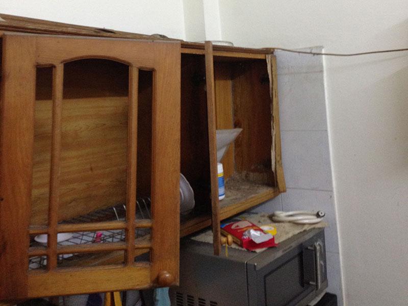 Tủ bếp hỏng do mối