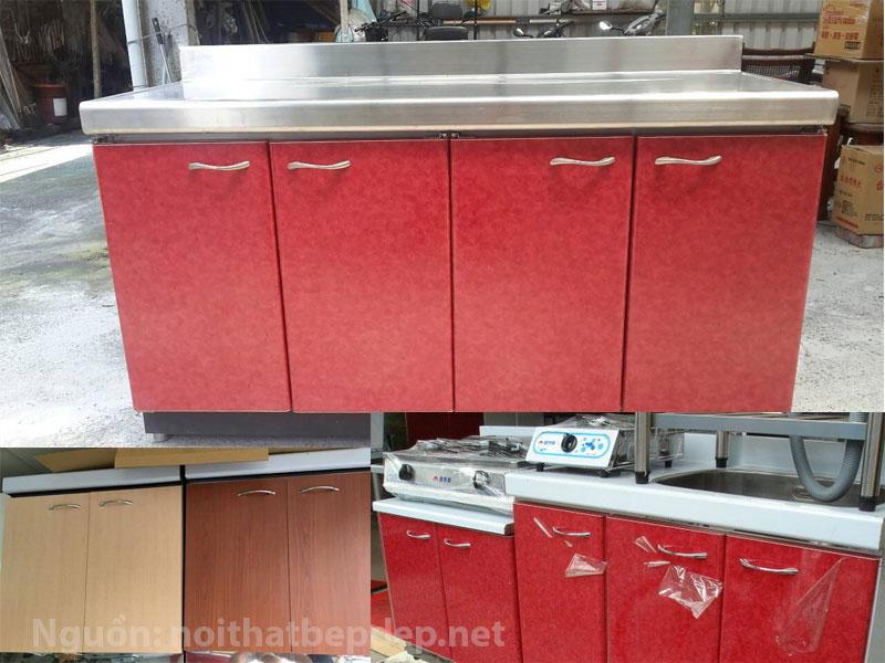 Tủ bếp inox mặt inox kiểu Á