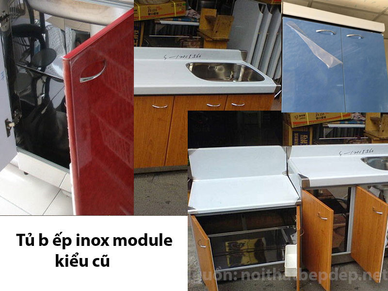 Tủ bếp inox kiểu Á chi tiết