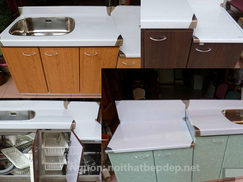 Tủ bếp inox nhập khẩu mặt inox kiểu Á