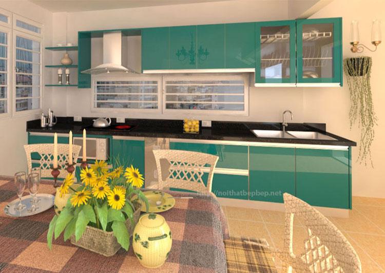 Tủ bếp inox màu xanh lá cây