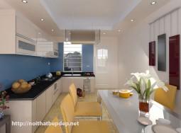 Tủ bếp inox kính màu cường lực