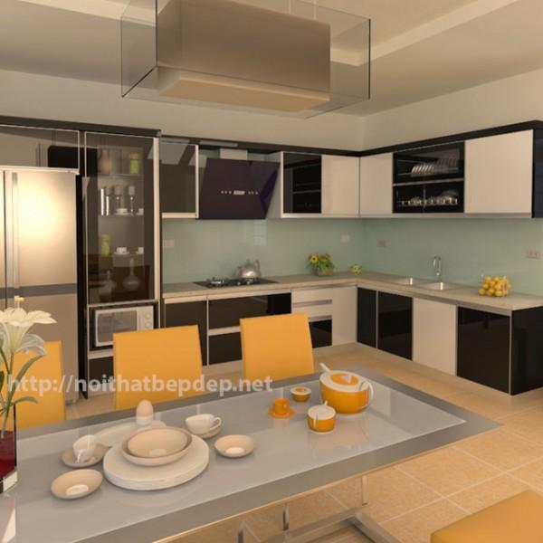 Tủ bếp inox cánh kính màu đen trắng