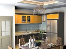 Tủ bếp inox kết hợp kính màu