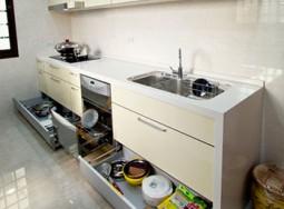 tủ bếp inox hình thẳng