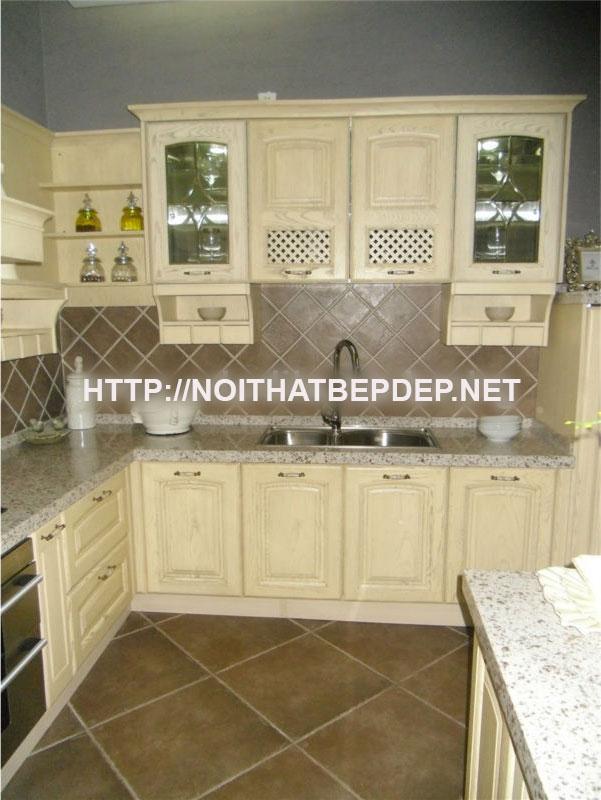 Tủ bếp inox cánh gỗ sồi tự nhiên