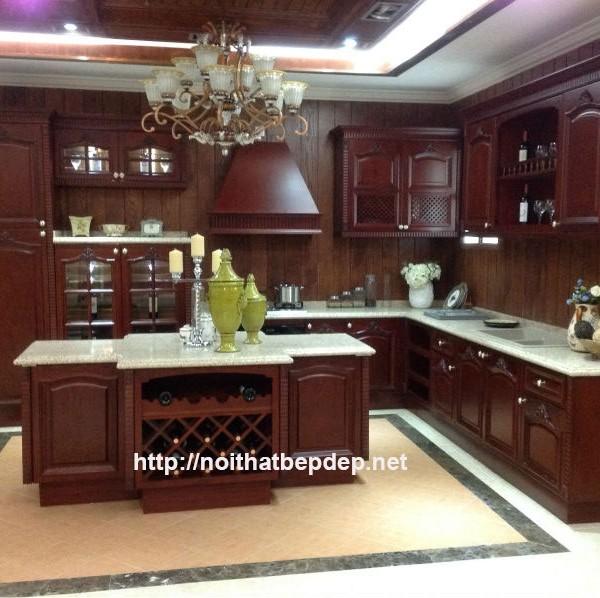 Tủ bếp inox cánh gỗ tự nhiên