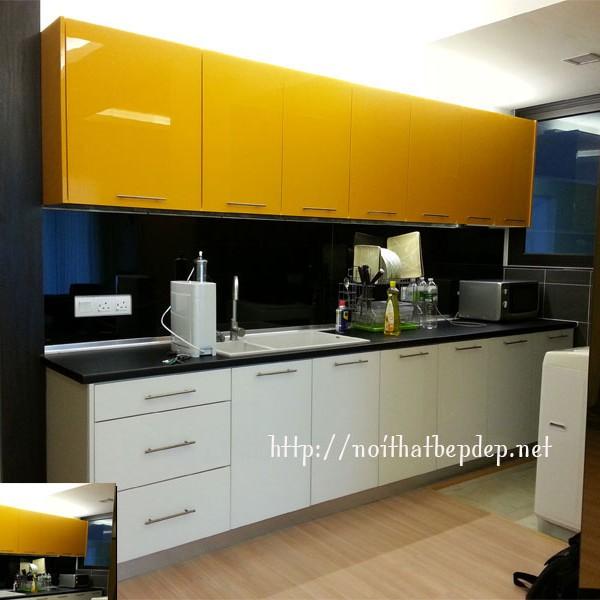 Tủ bếp inox cánh acrylic nano