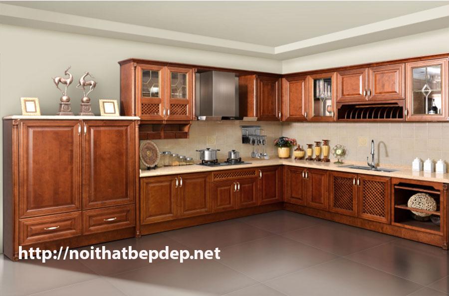 tủ bếp inox cánh gỗ xoan đào