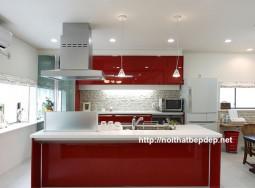 Tủ bếp inox đẹp - bếp màu đỏ đun