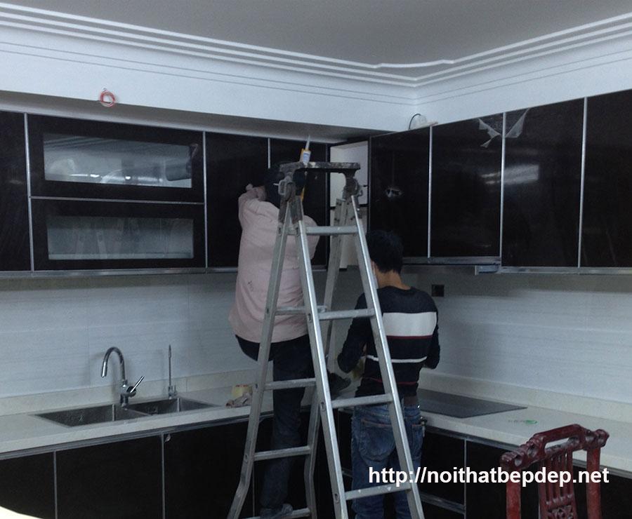Tủ bếp inox đẹp ở Hà Nội - ảnh đang thi công