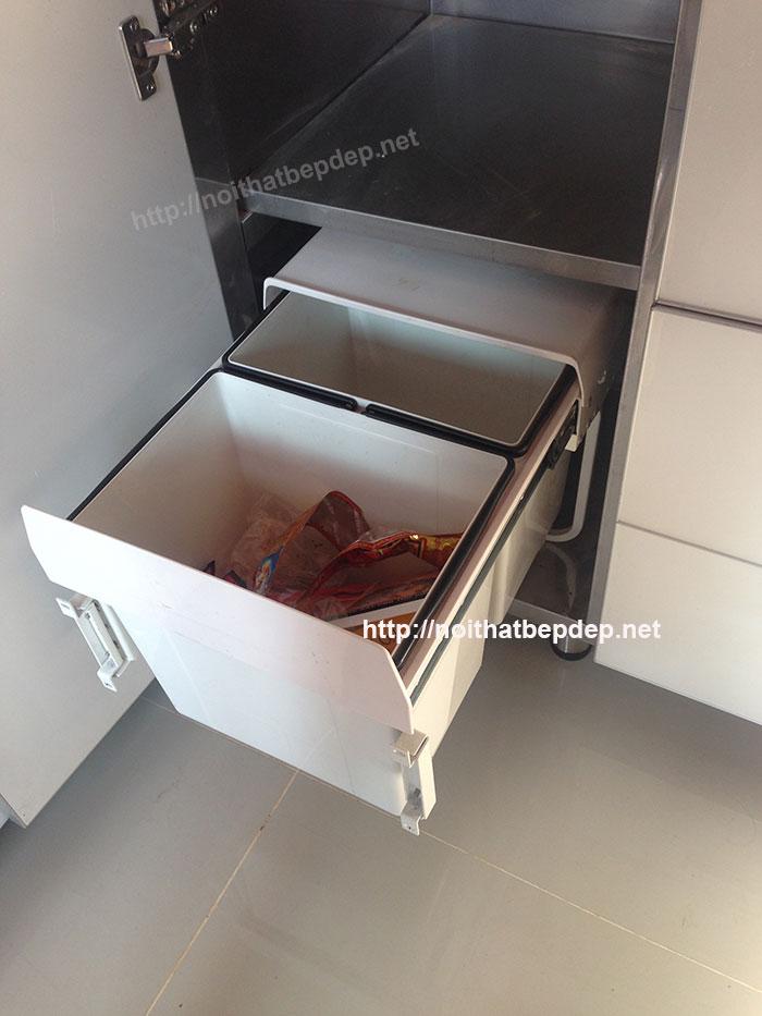 Thùng rác hai ngăn - tủ bếp bằng inox