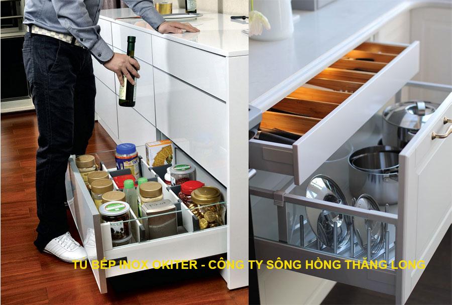 Chi tiết bên trong ngăn kéo phụ kiện tủ bếp inox