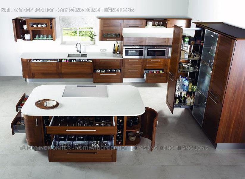 Tủ bếp thông minh với với các ngăn để đồ