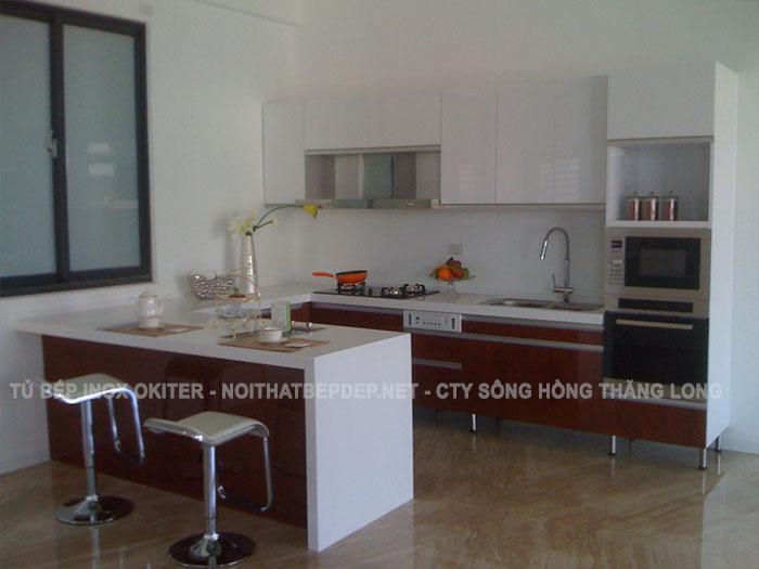 Hình ảnh tủ bếp bằng inox đã hoàn thiện sẵn sàng đi vào sử dụng